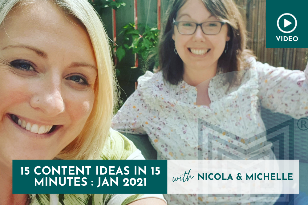 Marketing: 15 Content Ideas in 15 minutes, January 2021
