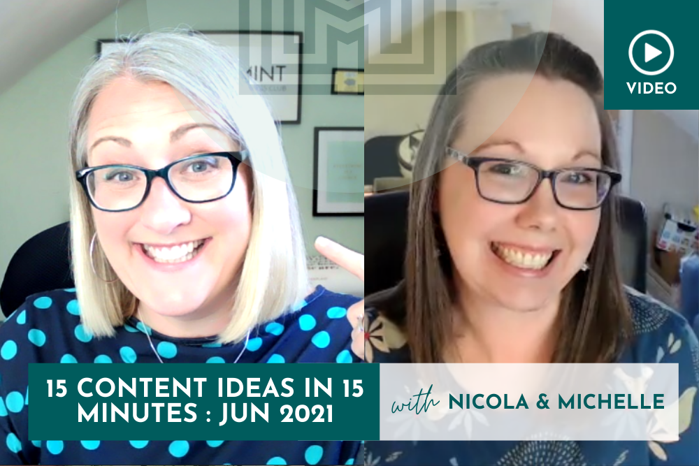 Marketing: 15 Content Ideas in 15 minutes, June 2021