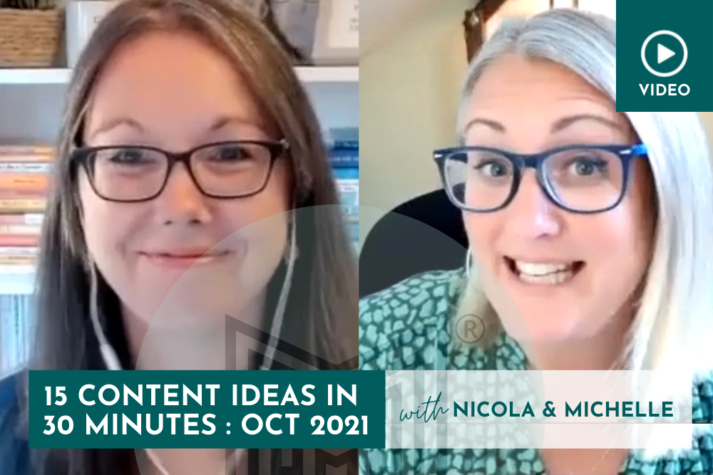 Marketing: 15 Content Ideas in 30 minutes, October 2021